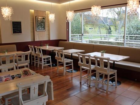 公園に隣接した開放的な空間も特徴的なドックカフェ店内
