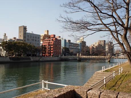 桜が開花すると両岸は花見客でにぎわう京橋川沿い