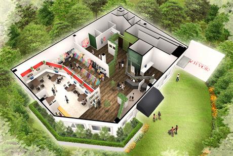 フォセット広島店の俯瞰イメージパース