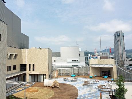 7月29日のオープンに向けて準備を進める本館9階屋上