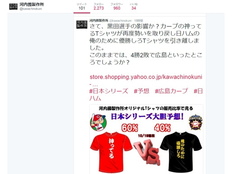 日本シリーズ結果を予想したツイッター画面