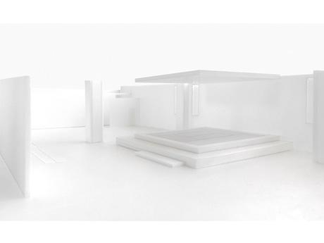 茶室のイメージ図。茶室はひな壇上に畳を敷いて設け、専用の天井を作る。