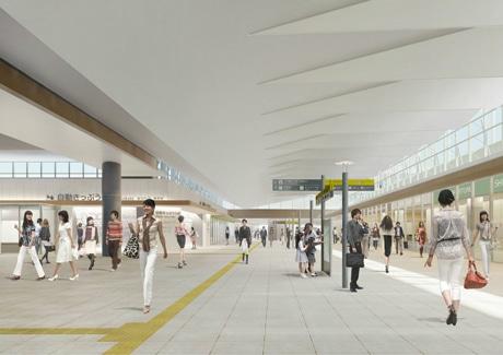 全面開業後の広島駅構内の自由通路イメージ