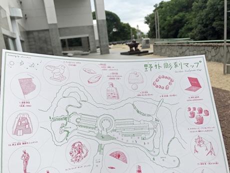 広島市現代美術館が配布する手描きイラストの「野外彫刻マップ」