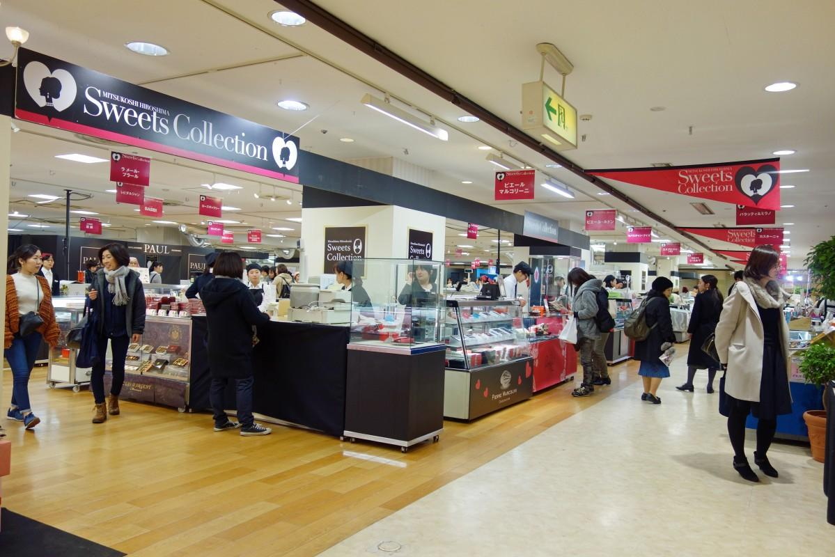 広島三越で始まった「スウィーツコレクション」会場の様子
