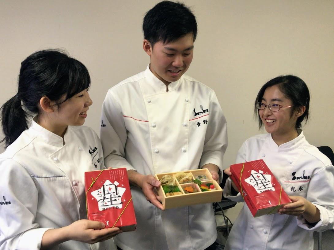 弁当を考案した広島酔心専門学校の調理師課に通う2年生たち