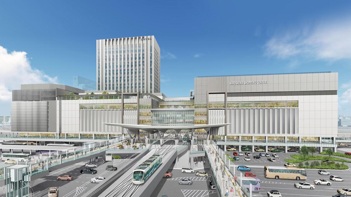 2025年春に開業する広島駅ビル外観イメージパース(広島市提供)