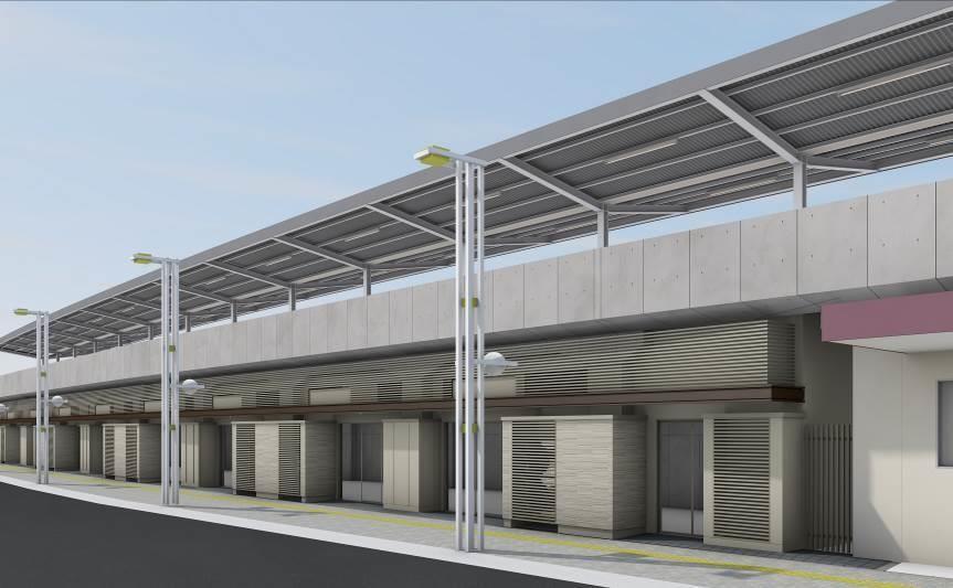JR横川駅北口高架下に開業する駅直結の商業施設イメージパース