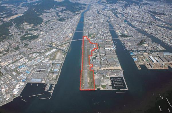 広島西飛行場跡地の空撮写真