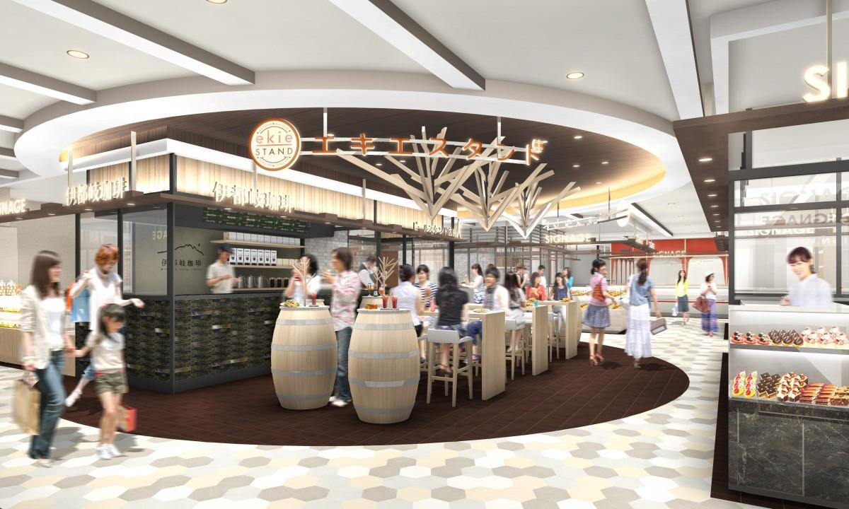 「ビールスタンド重富」や揚げもみじ販売の「もみじ堂」、宮島のカフェ「伊都岐珈琲」の3店舗が「エキエスタンド」に併設して出店する