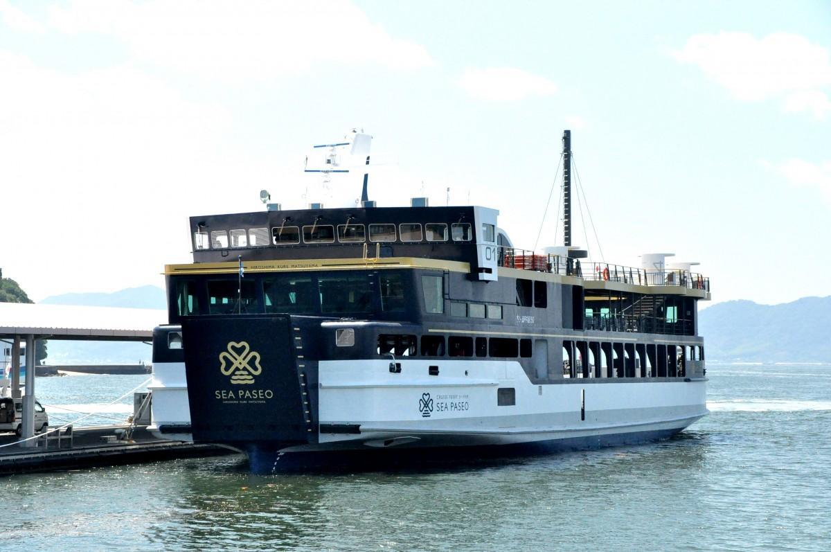 広島・呉-松山航路で運航を開始した新造クルーズフェリー「シーパセオ」船体