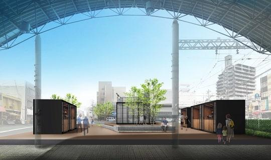広電西広島駅から見た「ひろでん会館」跡地。通路両脇に店舗が出店する