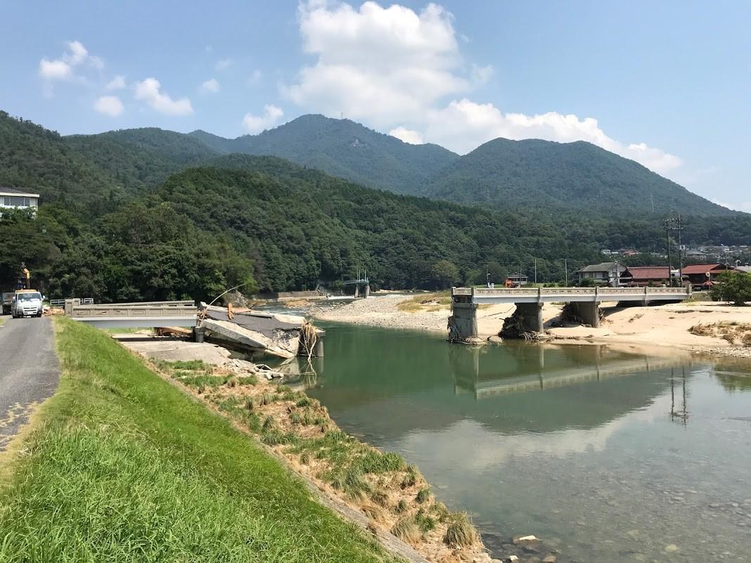 平成30年7月豪雨で被害にあった当時のJR芸備線「上深川駅」付近の橋りょう