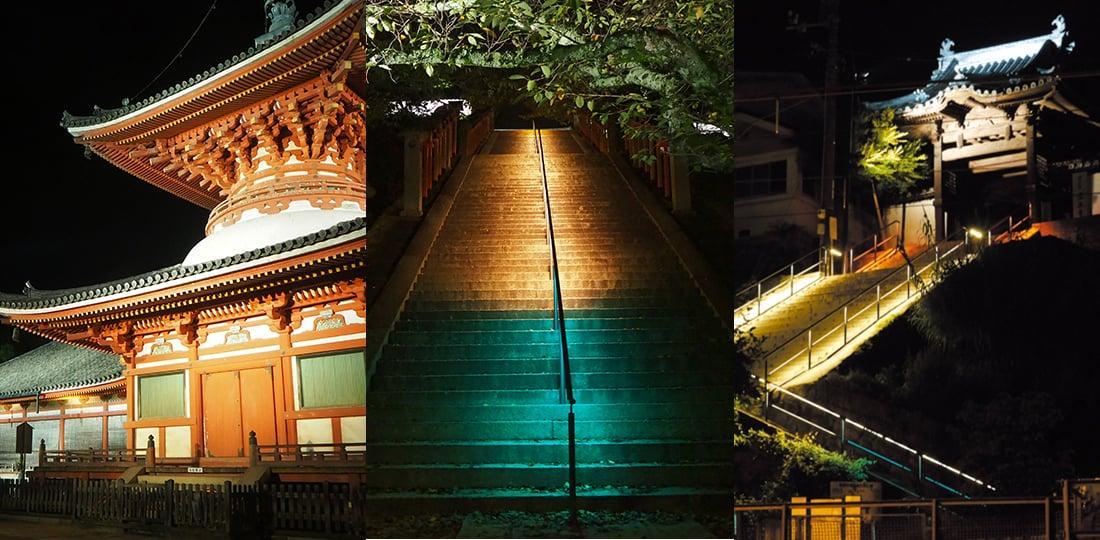 広島・尾道にある「浄土寺」「宝土寺」「西國寺」で夜間ライトアップや楽器演奏を行う