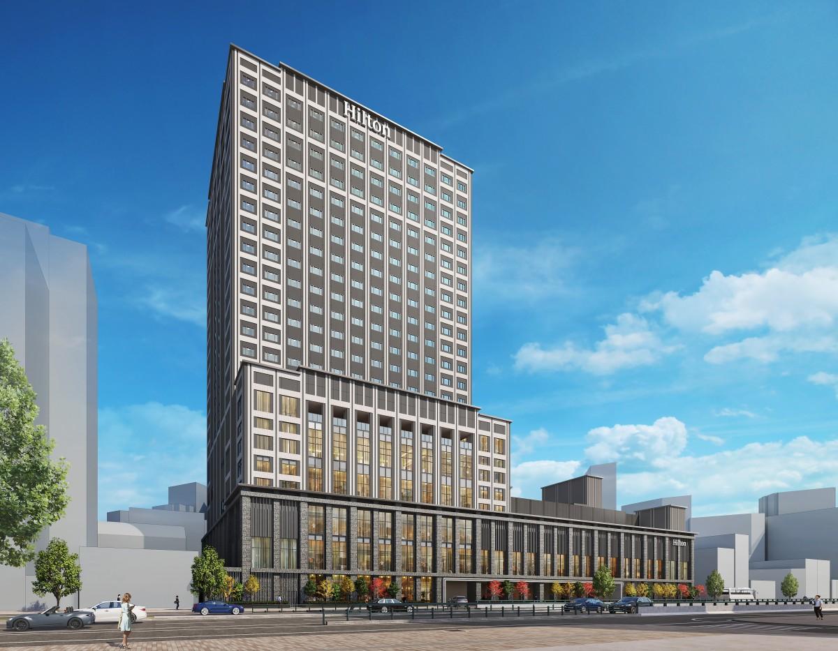 広島市中区富士見町の「広島東警察署」跡地に2022年開業する「ヒルトン広島」南西側外観。