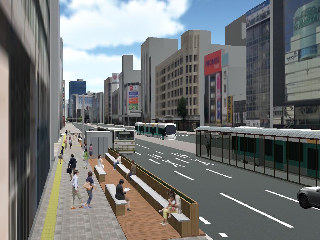 東急ハンズ広島店前の「八丁堀バス停」バスベイにウッドデッキを張り、憩いの空間を作る。画像はイメージパース。