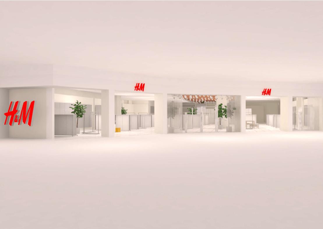 イオンモール広島府中にオープンする「H&M(エイチアンドエム)」外観パース