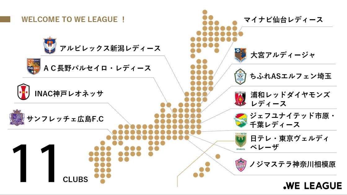 2021年秋に開幕する日本初の女子プロサッカーリーグ「WEリーグ(ウィーリーグ」に参入する11チーム