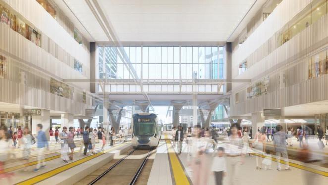 新駅ビル2階フロアのイメージ図。写真奥には、駅南口にある駅前福屋などの建物が見える。フロア東西の幅は約50メートル、奥行き約50~60メートル。高さは約20メートルで、4フロアに相当する