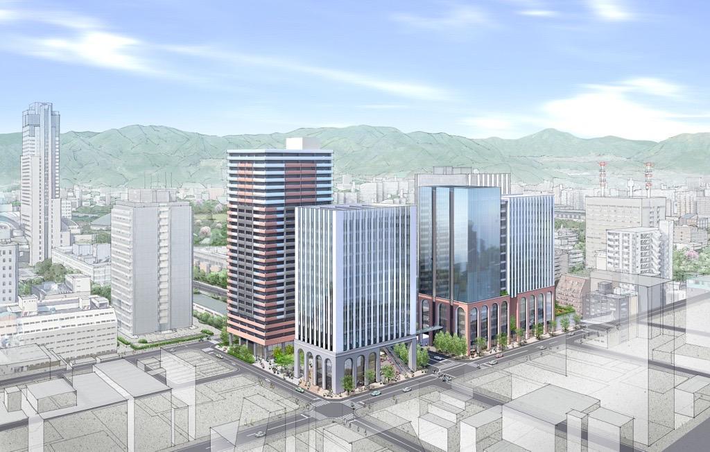 完成をイメージした鳥瞰パース図。左から、住宅・地域貢献施設が入る「B-1棟」(地上28階)、業務・商業から成る「B-2棟」(地下1階・地上15階)、教育・福祉、業務、商業で構成する「A棟」(地上16階)