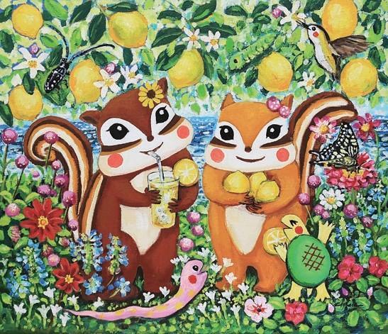 「りす」絵本作家藤岡ちささんの絵画展で展示する新作。藤岡ちさ《レモンの木の下で~広島の香り~》油彩 (c)chisa fujioka