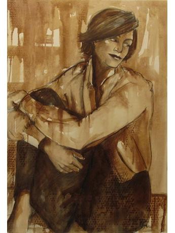 絵の具の代わりにワインだけで描く絵、セントラルギャラリーで作品展