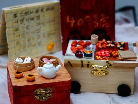 飲茶点心や香港風串焼きなど、樹脂粘土で作った作品。小物入れとしても使える