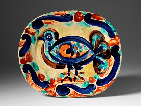 Pigeon Hand painted and glazed ceramic plate. Signed Picasso, dated 1957 and stamped Madoura Plein Feu (on the underside).  W: 37.4 cm, L: 31.4 cm.  Nina Miller Collection.