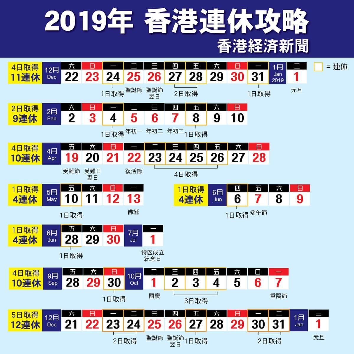 香港2019年の祝日