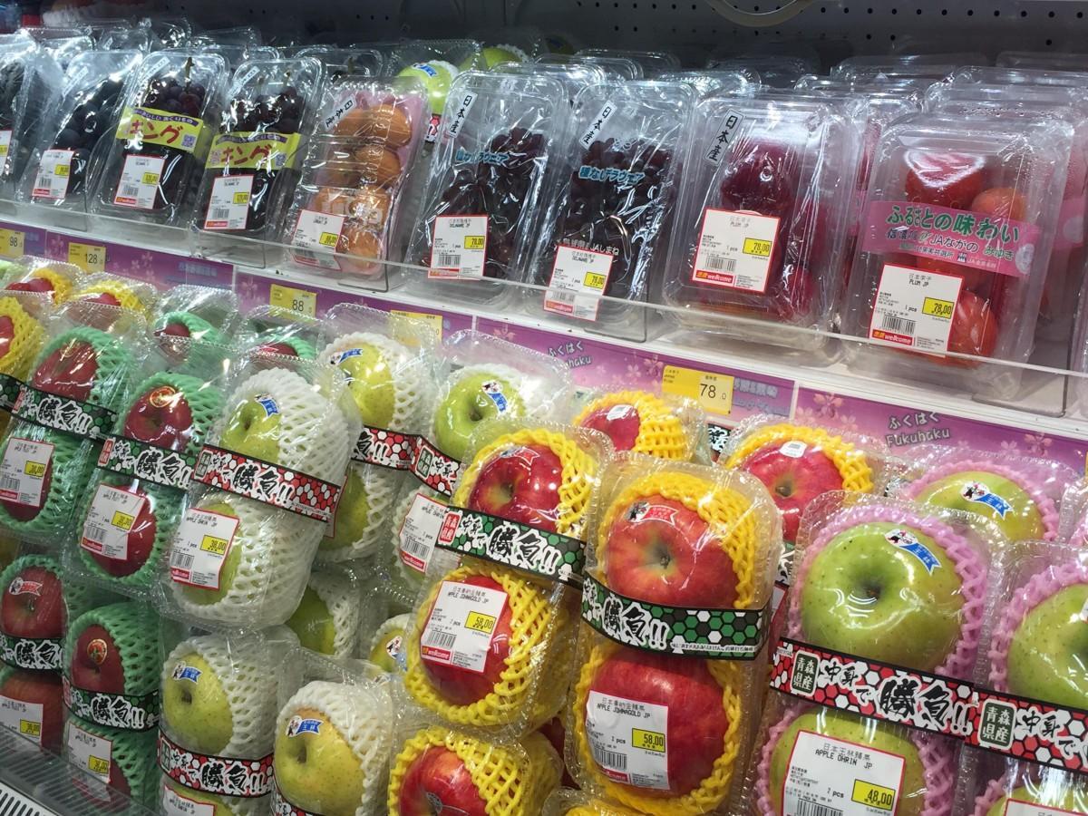 日本の野菜や果物が並ぶ香港のローカルスーパーマーケット