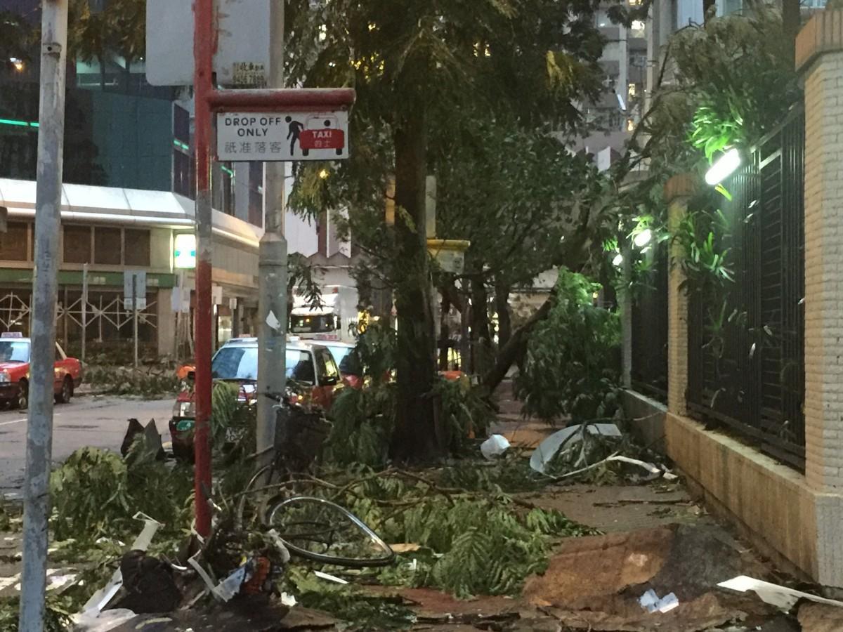 あらゆるところで木がなぎ倒され、窓ガラスが割れた破片が飛び散っているものの、あっという間に通常の生活に戻りつつある香港