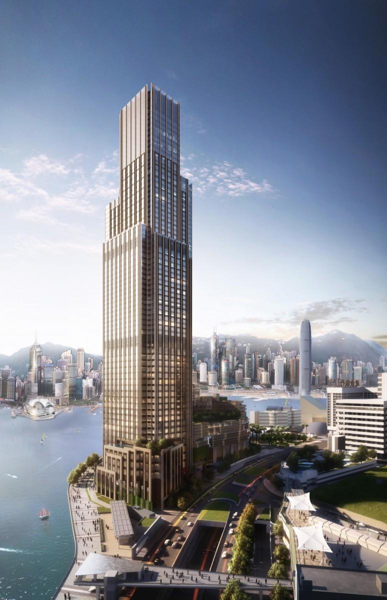 65階建ての複合施設ビル「ビクトリア・ドックサイド」に入る「ローズウッド香港」