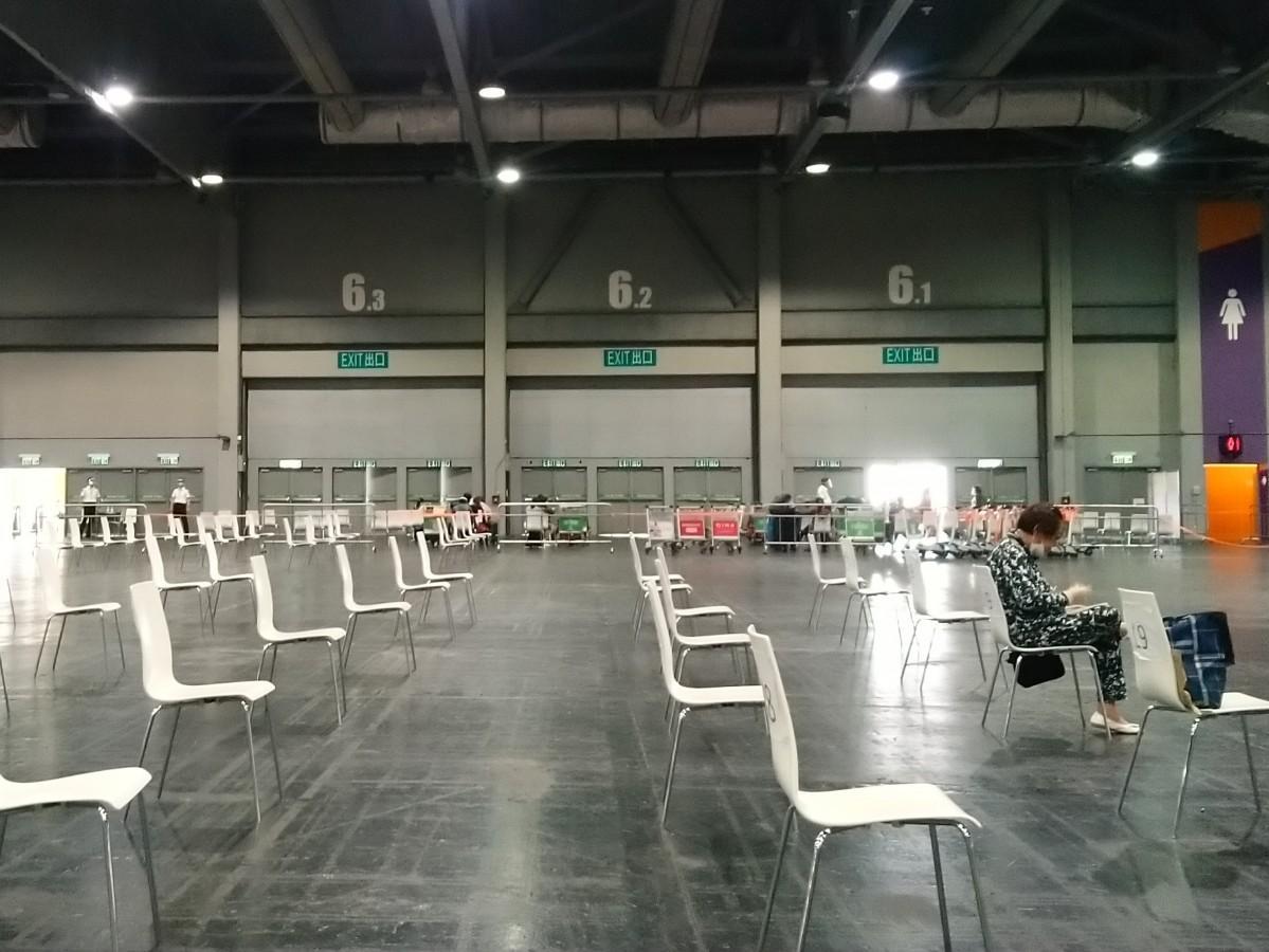 検査のため亜洲国際博覧館(Asia World-Expo)で待機する様子