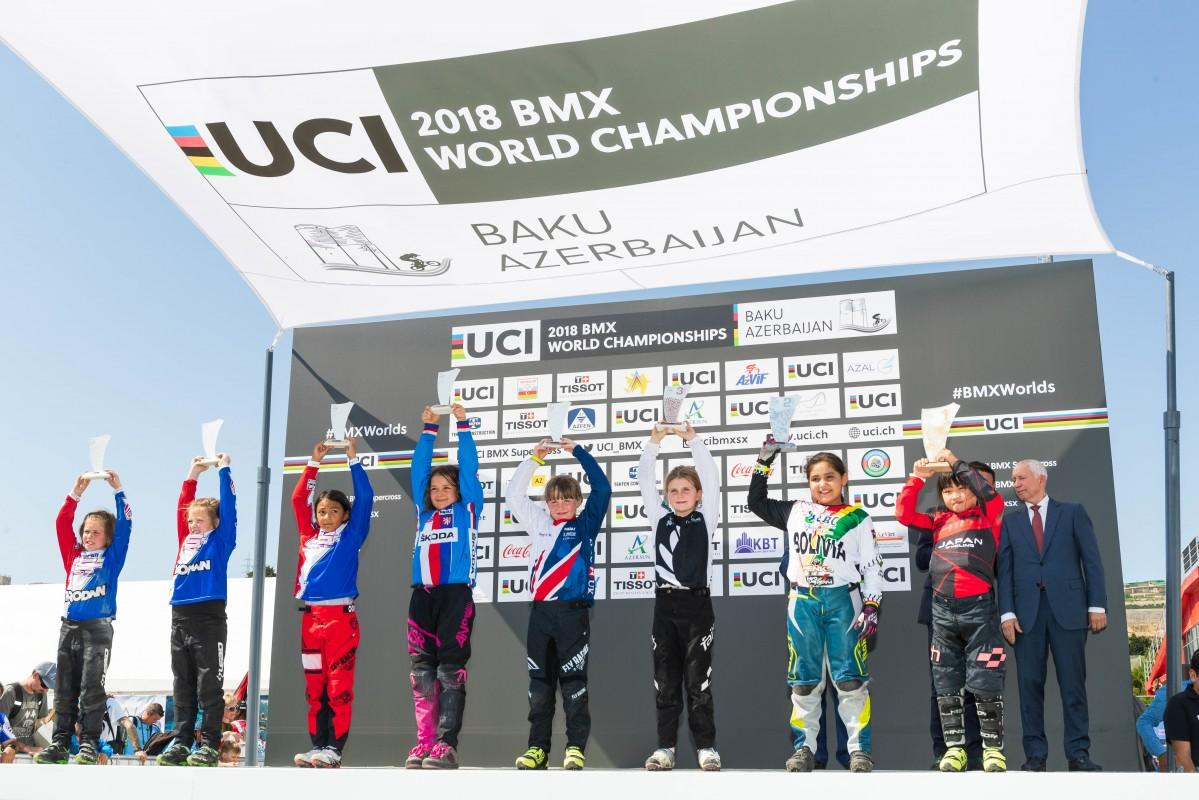 BMX世界選手権で初優勝した澤田茉奈さん(左から8人目)(写真提供=日本自転車競技連盟)
