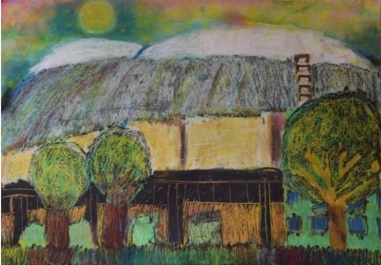 MOA美術館全国展への出品が決定した最優秀賞(MOA美術館奨励賞)の絵画「夜空とかがやくシルクドーム」