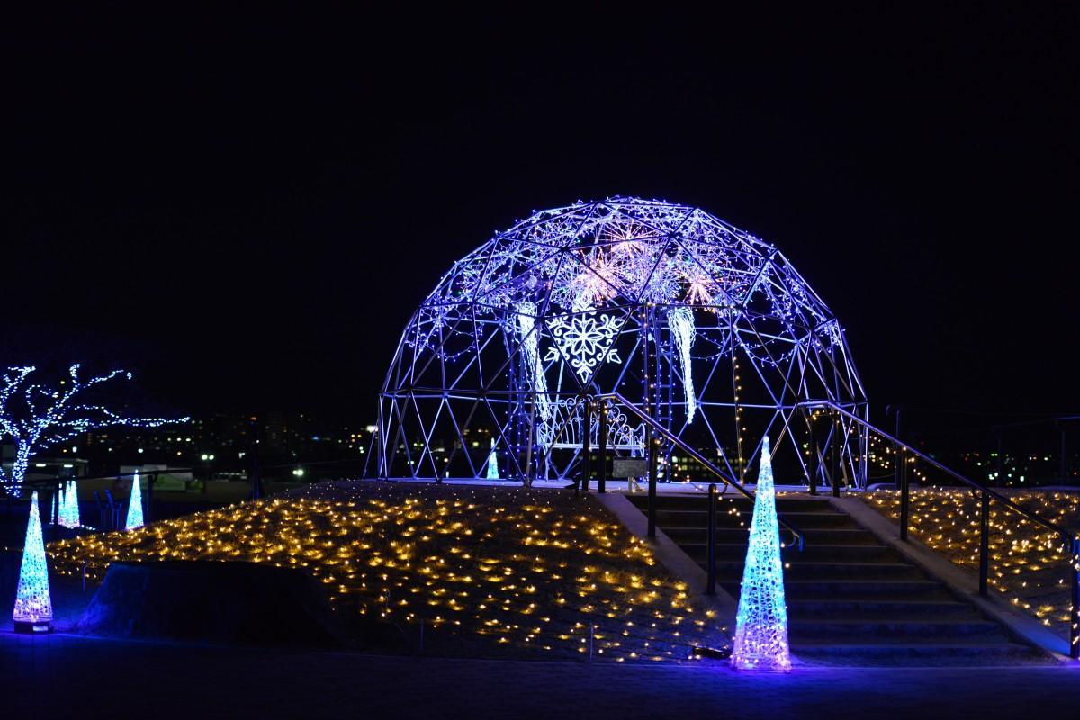 イルミ点灯のマリーゴールドの丘公園のドーム (昨年の様子)