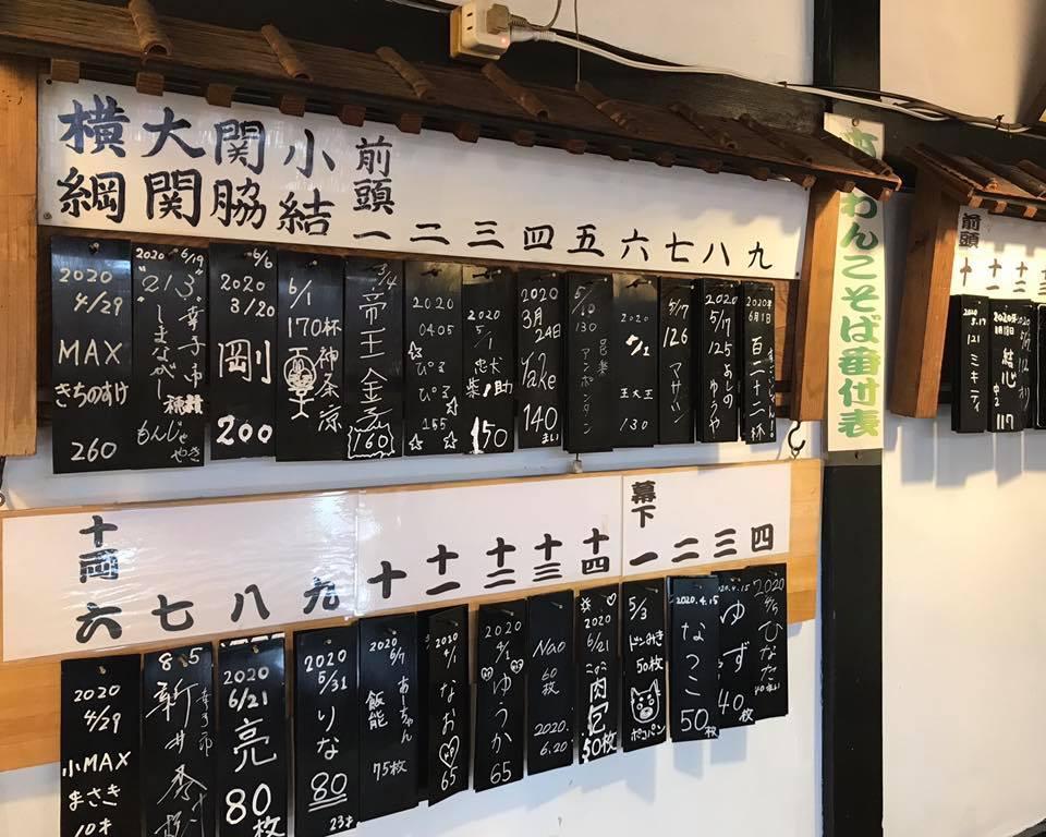「小川家」店内に掲出している「本庄わんこそば番付表」
