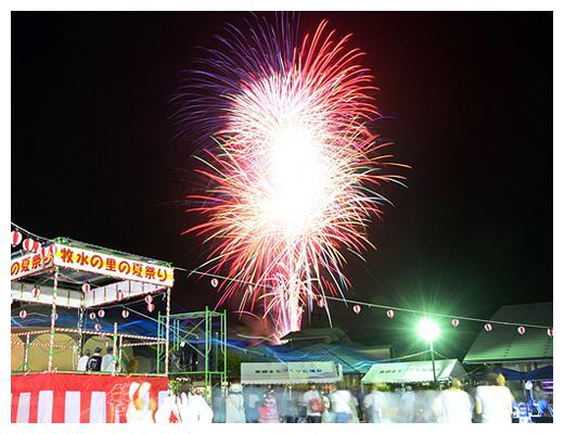 祭りのクライマックスに上げられる花火