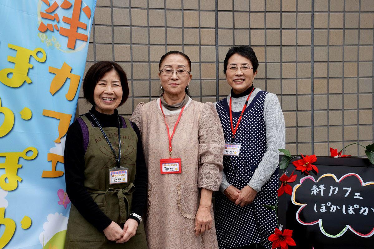 (左から)「子ども食堂ひゅうが絆」の三輪さん、尾池さん、浅井伊津子さん