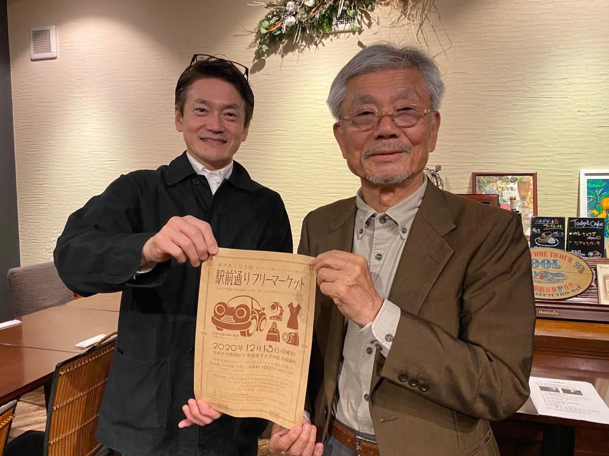 ひむかの杜商店街振興組合の西村理事長(右)と寺尾さん