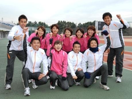 東京マラソンに出場する日本テレビアナウンサーとタレントらによる合同練習会