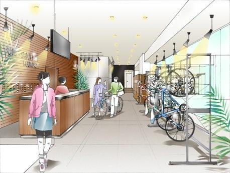 駐輪場を完備するランナーズステーションの2号店「ランナーズステーション プラス バイク KOJIMACHI」。ランナーだけではなく自転車通勤者をターゲットにとらえる。(画像はイメージ)