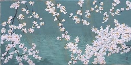 山種美術館で開催中の展覧会「桜さくらサクラ・2009-さようなら、千鳥ヶ淵-」で展示されている作品の一つ「千鳥ヶ淵」(石田武 2005年、提供=山種美術館)