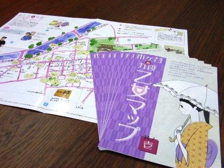 市ケ谷・九段かいわいで配布を開始した「市ケ谷&九段 乙女マップ」。老舗店から屋台まで90店舗を紹介している。