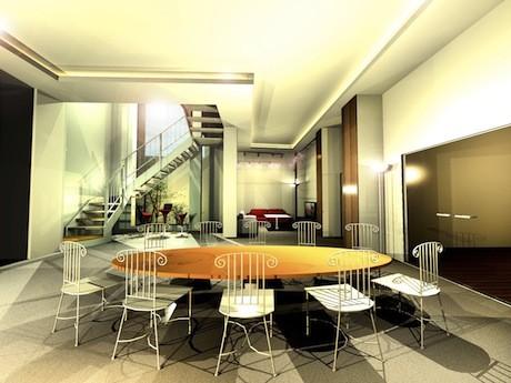 「コンパルティア 新宿」B1F共用部イメージ。ダイニングとラウンジを合わせた広さは42平方メートル、スモーキングスペースは5平方メートル、ジャグジー付きの浴室は9.9平方メートル。
