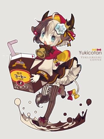 「雪印コーヒー」の擬人化キャラクターを決める投票で1位に選ばれたCH3さん作の「ゆきこたん」