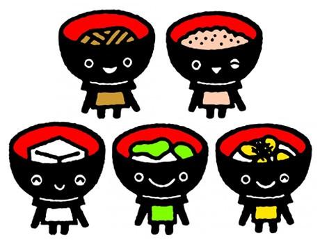岩手県観光キャラクター「わんこきょうだい」(左上から、そばっち、こくっち、とふっち、おもっち、うにっち)