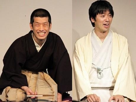 「恋するSUGAMO」で落語を披露するはなし家の柳屋小太郎さん(左)と鈴々舎八ゑ馬さん(右)