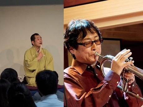 「ぼっけぇ岡山ナイト」で落語を披露する笑福亭瓶二さん(左)とジャズを演奏するトランペッターのミムランさん(右)