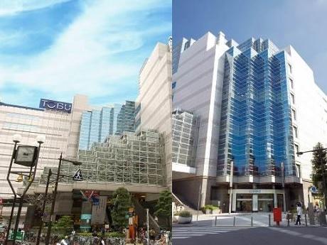 外観の様子(左が「東武百貨店池袋店」、右が「ルミネ池袋」)